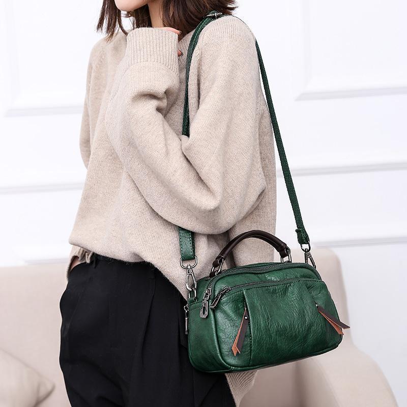 Ladies Multi Pockets Soft Leather Fashion Mini Small Cute Shoulder Bag Handbag for Women