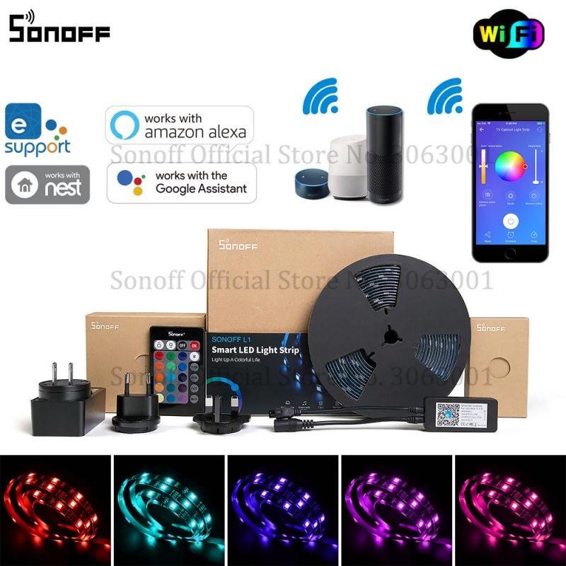 SONOFF L1 Smart LED Light Strip Dimmable Waterproof WiFi Flexible RGB Strip Lights
