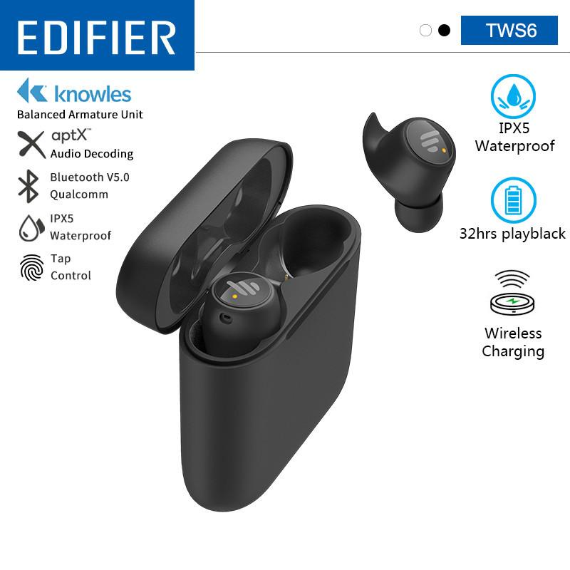 EDIFIER TWS6 TWS Wireless Earbuds BluetoothV5.0 32hrs Play Time Support Aptx Touch control IPX5 Waterproof Wireless Charging