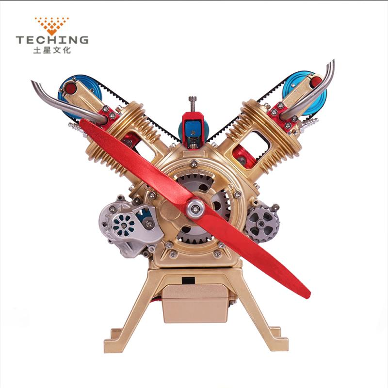 Teching DM14 Double Cylinder Full Aluminum Alloy Engine Model Collection