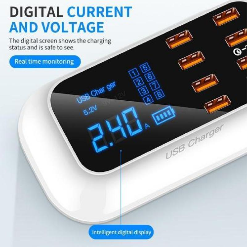8 Ports Quick USB Charger 3.0 Led Safe Electric Current Display